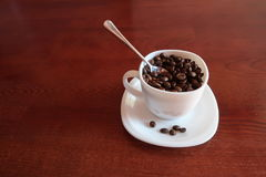 白色杯子用里面的咖啡豆和匙子 库存照片