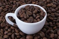 白色杯子snd咖啡豆 库存图片