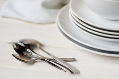 白色板材和碗 免版税图库摄影