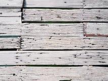 白色板条木头路顶视图  库存照片