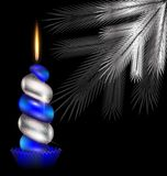 白色树和蓝色蜡烛 皇族释放例证