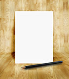 白色框架和铅笔在光滑的木木条地板室 免版税库存照片