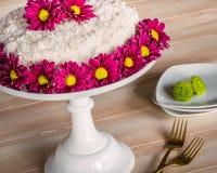 白色椰子夹心蛋糕 库存图片