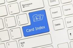 白色概念性键盘-卡片索引蓝色钥匙 免版税图库摄影