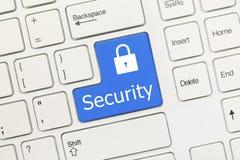 白色概念性键盘-安全(蓝色钥匙) 免版税库存图片
