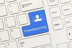 白色概念性键盘- Crowdsourcing蓝色钥匙 免版税库存图片