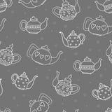 白色概述茶壶,手拉的无缝的样式 免版税图库摄影