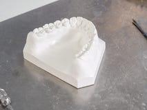 白色模子牙齿膏药 图库摄影