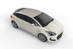 白色汽车嘲笑在白色背景, 3D例证 库存例证
