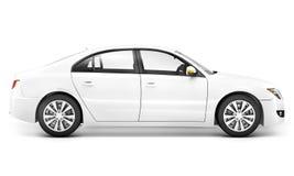 白色汽车电杂种运输能量概念 库存图片