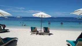 白色沙子海滩在保和省 免版税库存照片