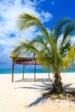 白色沙子海滩在热带 免版税图库摄影
