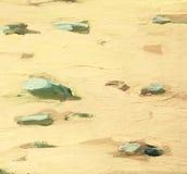 白色海沙和石头在海岸,绘 库存例证