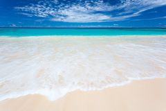 白色海滩在塞舌尔群岛 图库摄影