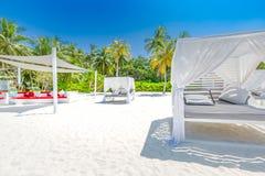 白色海滩机盖 在手段的豪华海滩帐篷 海滩风景、豪华假期和旅行背景conce美妙的看法  库存照片