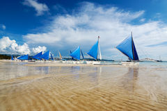 白色海滩,博拉凯,菲律宾 免版税库存图片