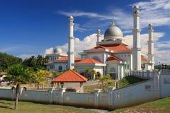白色清真寺在热带马来西亚 免版税库存图片