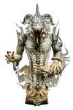 白色渔夫邪魔雕塑 免版税库存照片