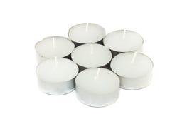 白色温泉蜡烛 库存照片