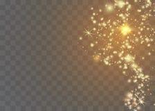 白色火花闪烁特别光线影响 传染媒介在透明背景闪耀 圣诞节抽象样式 闪耀的魔术 向量例证