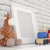 白色照片框架嘲笑在儿童居室 库存图片