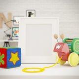 白色照片框架嘲笑在儿童居室 库存照片