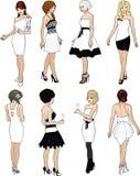白色燕尾服的八个美丽的夫人 免版税库存照片