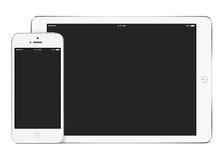 白色片剂计算机大模型在风景取向和sma的 库存图片