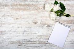 白色牡丹和笔记薄词条的在笼子,说谎在一张老轻的桌上, mocap,平,言情,顶视图, copyspace, flatlay 库存图片