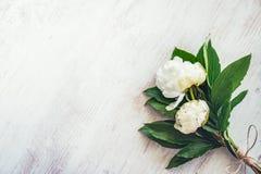 白色牡丹花束的顶视图开花在白色木土气背景 复制空间 免版税库存照片