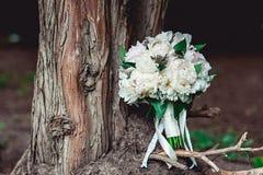 白色牡丹豪华新娘花束在一棵老树的根的 库存图片