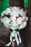 白色牡丹豪华新娘花束在一棵老树的根的 免版税图库摄影