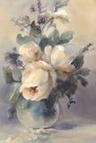 白色牡丹水彩花束  免版税图库摄影