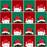 黑白色猫棋盘圣诞节红色绿色背景 无缝 皇族释放例证