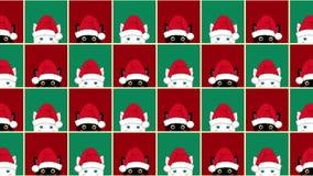 黑白色猫棋盘圣诞节红色绿色背景 股票录像