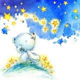 白色玩具熊和夜星背景 水彩 库存照片