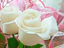 白色玫瑰特写镜头花束  图库摄影