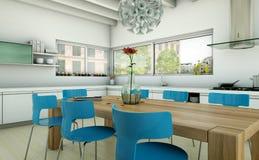 白色现代厨房在有蓝色椅子和木桌的一个房子里 库存例证