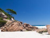 白色珊瑚沙子在塞舌尔群岛 免版税库存图片