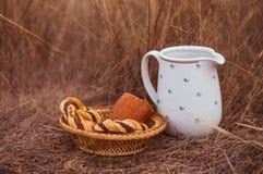 白色瓶子和被烘烤的小圆面包在领域 与瓶子的土气样式picknik牛奶和自创酥皮点心与空间文本的 免版税库存图片