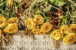 白色用与黄色玫瑰的琥珀色的小珠报道的被绣的边界在黑背景 免版税图库摄影