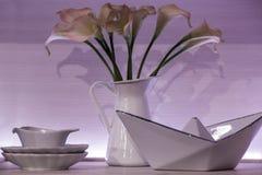 白色用餐的瓷设置了与有一个水罐的茶碟花、调味汁瓶和色拉盘异常的形状,在白色背景 库存照片