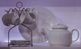 白色用餐的瓷设置了与有一个水罐的茶碟花、调味汁瓶和色拉盘异常的形状,在白色背景 免版税库存照片