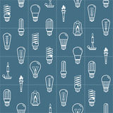 白色电灯泡现出轮廓无缝的背景 也corel凹道例证向量 免版税库存图片