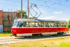 白色电车轨道在基辅 图库摄影