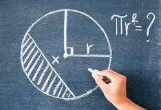 白色白垩写的算术在黑板背景 免版税库存图片