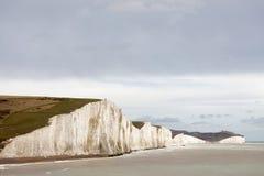 白色白垩峭壁在七个姐妹国家公园 免版税图库摄影