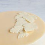 白色白色巧克力叶子在蛋糕的 库存照片