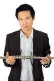 白色的专业长笛演员 免版税图库摄影