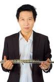 白色的专业长笛演员 库存照片